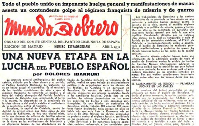 Número extraordinario de Mundo Obero de abril de 1951, recogiendo en portada un artículo de La Pasionaria.