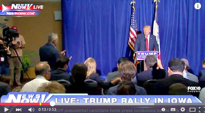 Momento en el que el richachón Trump echa de la sala de prensa al periodista mexicano Jorge Ramos.