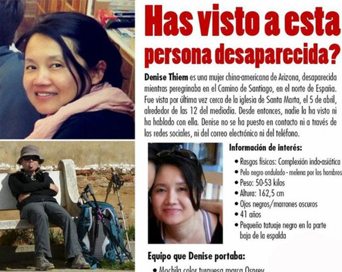 Cartel policial buscando a Denise Thiem.