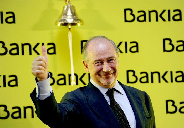 Rodrigo Rato tras tocarnos la campanita de Bankia.