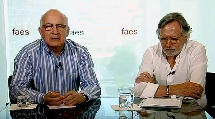 El secretario general de la Fundación FAES, Javier Zarzalejos (izquierda) analiza los resultados electorales con el catedrático de Ciencia Política y director del Euskobarómetro, Francisco Llera. Foto: FAES